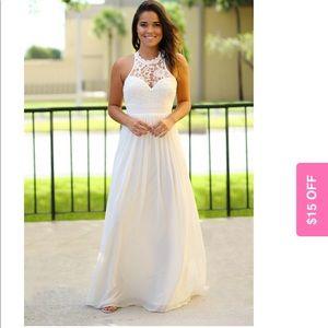 NWT Beige Maxi Crochet Dress